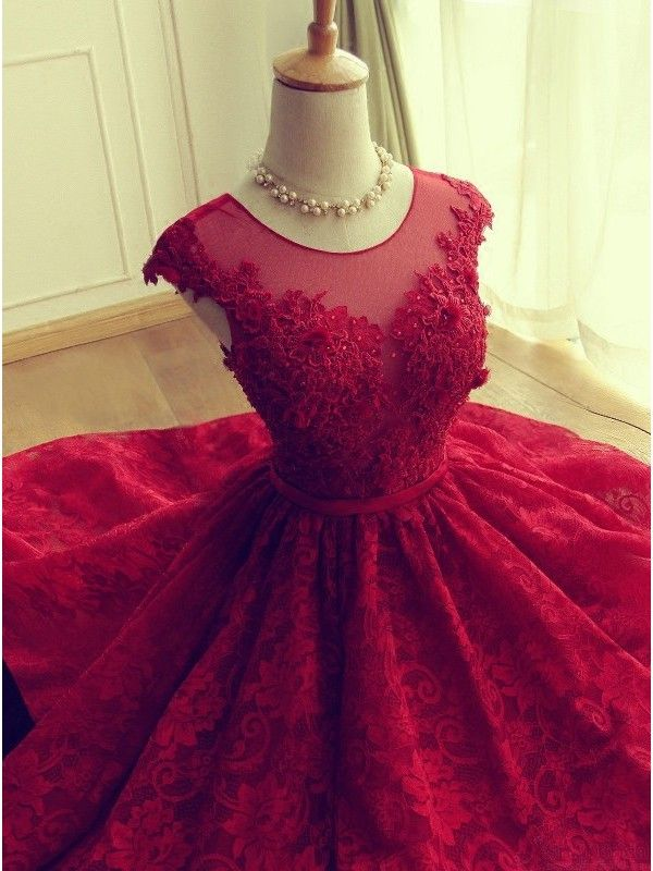 Cute Red Knee-length Red Short Lace Prom Dress Homecoming Dress - Thumbnail 1