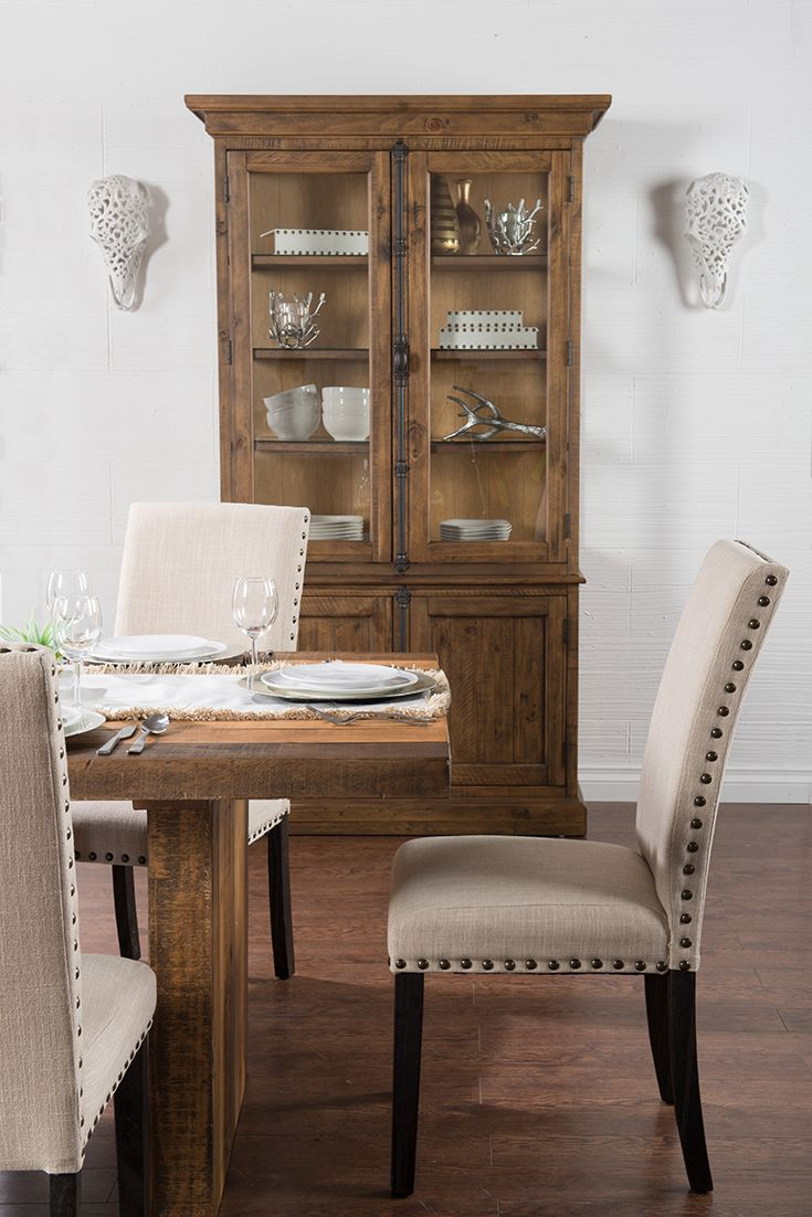 The Nailhead Trim And Dark Wood Of Chairs Perfectly Accentuate Warm Dining Table Hutch White Silver Gold Accessories Offer