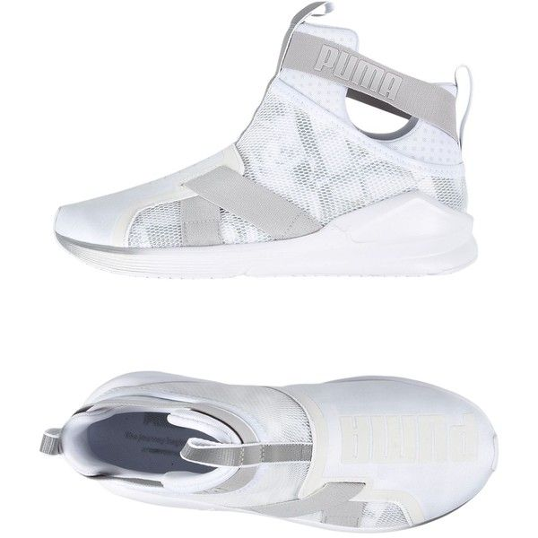 Puma Sneakers (585 ILS) ❤ liked on Polyvore featuring shoes, sneakers, white, puma footwear, white sneakers, lightweight shoes, puma sneakers and strap sneakers
