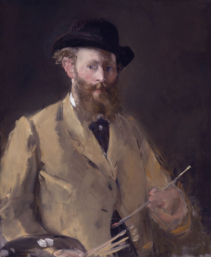 Edouard Manet Self Portrait. (1832–1883)  He was a pivotal figure in the transition from Realism to Impressionism. His early masterworks, Le déjeuner sur l'herbe and Olympia, were controversial and served as rallying points for young painters who would create Impressionism.