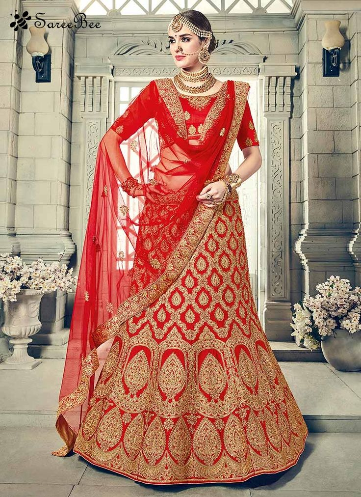 Mod Art Silk Red Embroidered Work Lehenga Choli  Add grace and charm to your appearance in this enticing red art silk lehenga choli. The ethnic embroidered, patch border, resham and zari work over a clothing adds a sign of splendor statement for the look. Comes with matching choli and dupatta.