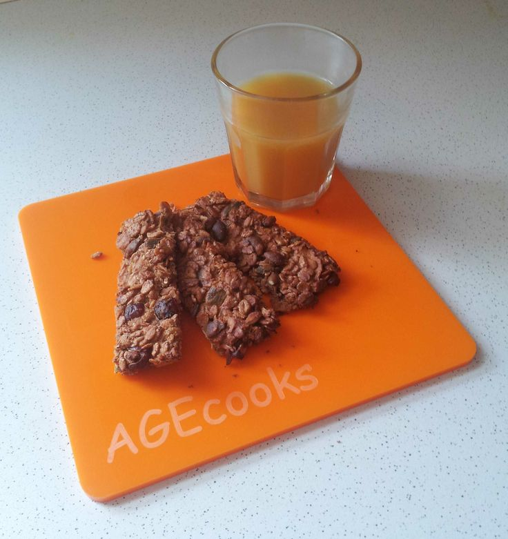 Serving Board in Coloured Perspex / Red and Orange / for Junior Chef and Children / My Recipe Peach Juice and Energetic Cereal Bars / by AGEcooks.com