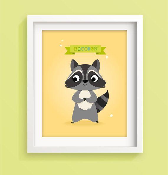 Raccoon nursery art print nursery print kid's by IreneGoughPrints