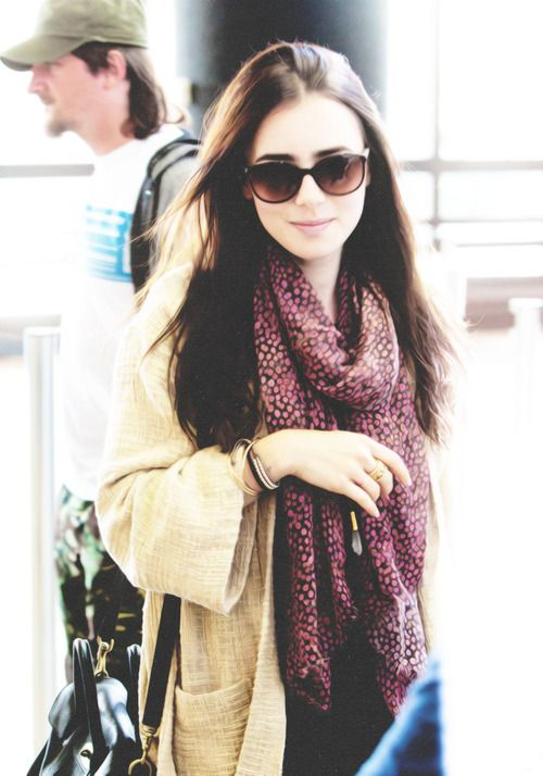 Lily Collins pale yellow + patterned scarf