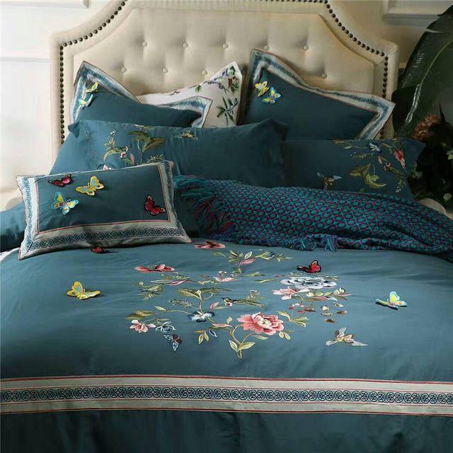 4/6/7 Pcs Luxo Egito Algodão Lixar estéreo borboleta Jogo de cama Duvet cover set Folha de Cama quente fronhas Queen Size Rei