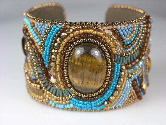 Tiger Eye Bead Embroidered Cuff Bracelet