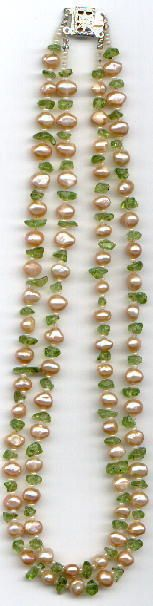 Pearls and Peridot Necklace instructions.  #Beading #Jewelry #Tutorial