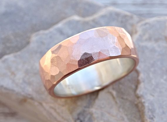 wide mens wedding band copper silver cool mens ring by CrazyAssJD