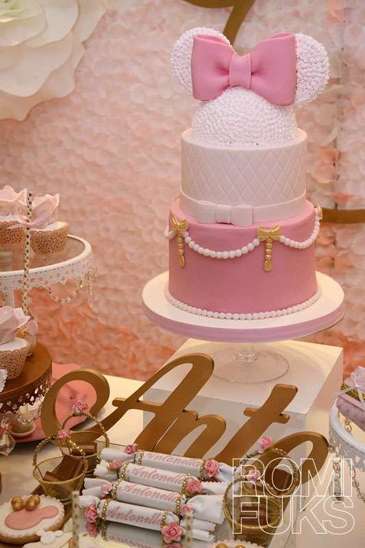 What an elegant pink and white Minnie Gold and Pink Birthday Party! See more party ideas at CatchMyParty.com