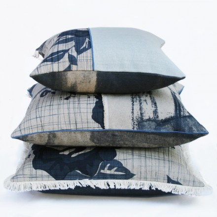 limited edition rose indigo and open screen patched cushions by Clothfabric