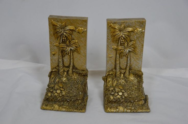 Gold Silver Beach Palm Tree Tropical Resin Bookends Decor Heavy Waves Ocean #Unbranded
