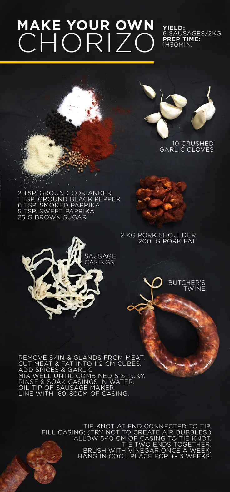 Father's Day is just around the corner and you're not sure what to buy for dad, why not gift him with some yummy homemade chorizo. With a preparation time of only 1 hour and 30 minutes, this simple recipe makes the perfect Father's Day gift.