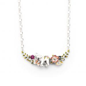 Elephant Floral Statement Necklace - Rhodium