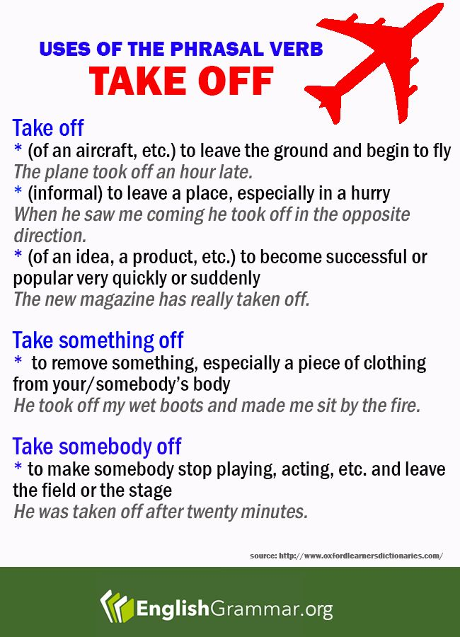 "Uses of the Phrasal Verb ""Take Off"""
