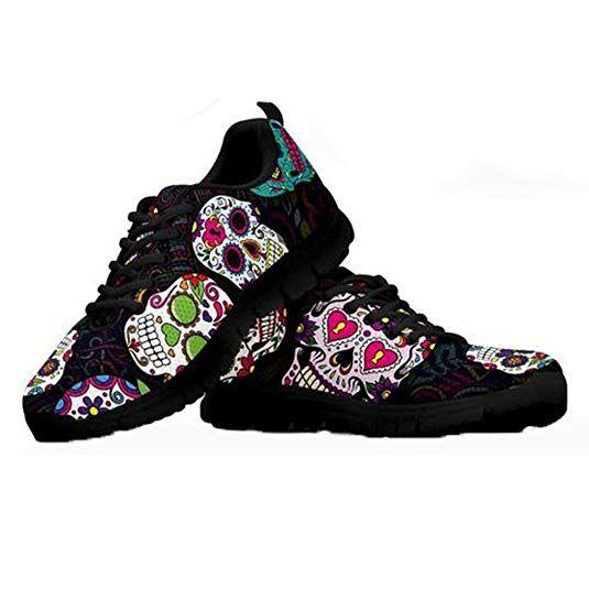 48c017ae5285e Coloranimal Trendy Sugar Skulls Pattern Lightweight Sneakers for ...
