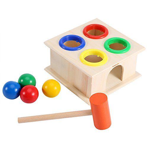 nice Martillo Caja de juguete para niños Educación Aprendizaje Temprano, el juego de pelota de madera