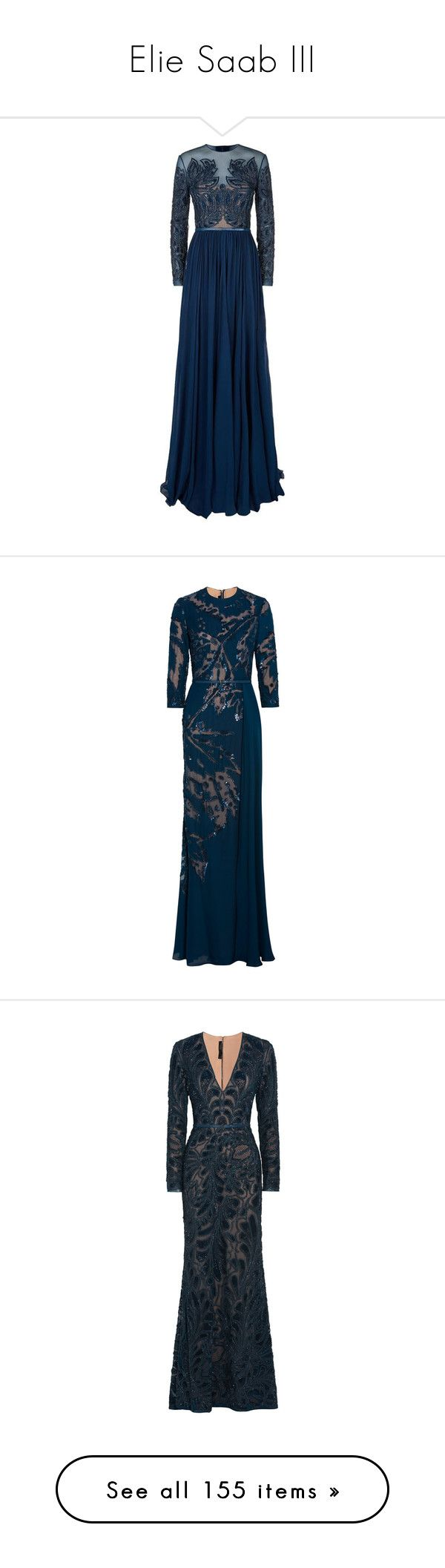 """""""Elie Saab III"""" by sakuragirl ❤ liked on Polyvore featuring dresses, gowns, gown, long dress, elie saab, robe, long silk dress, blue sequin dress, blue evening gown and blue evening dresses"""