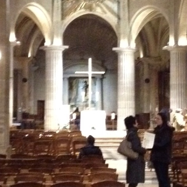 St. Medard Catholic Church in Paris after Sunday evening Mass.