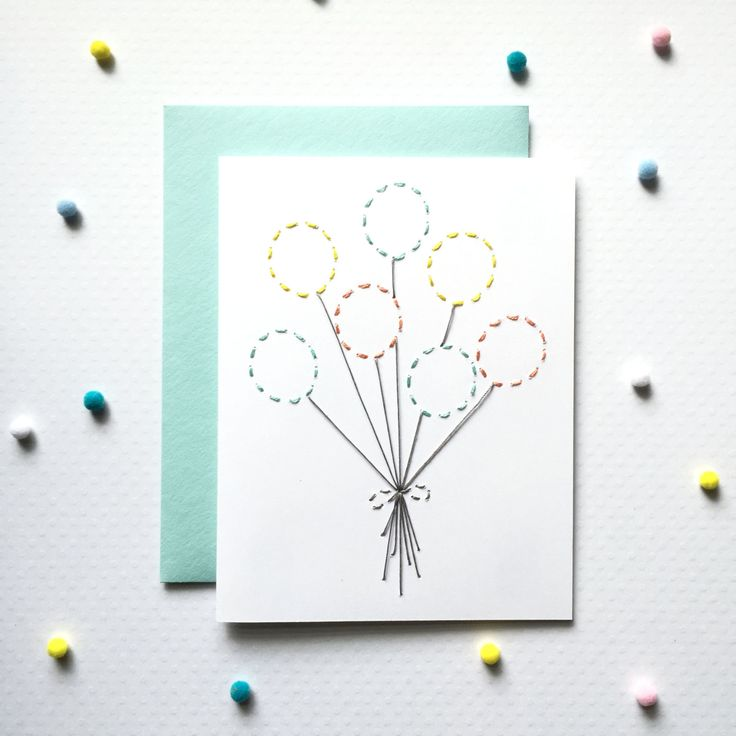 MODERN BIRTHDAY CARD,Balloons,Hand Embroidered,Baby Girl card,Baby Boy Card,niece birthday,nephew birthday,kids birthday card,Unique Card by MELLOWWORKS on Etsy