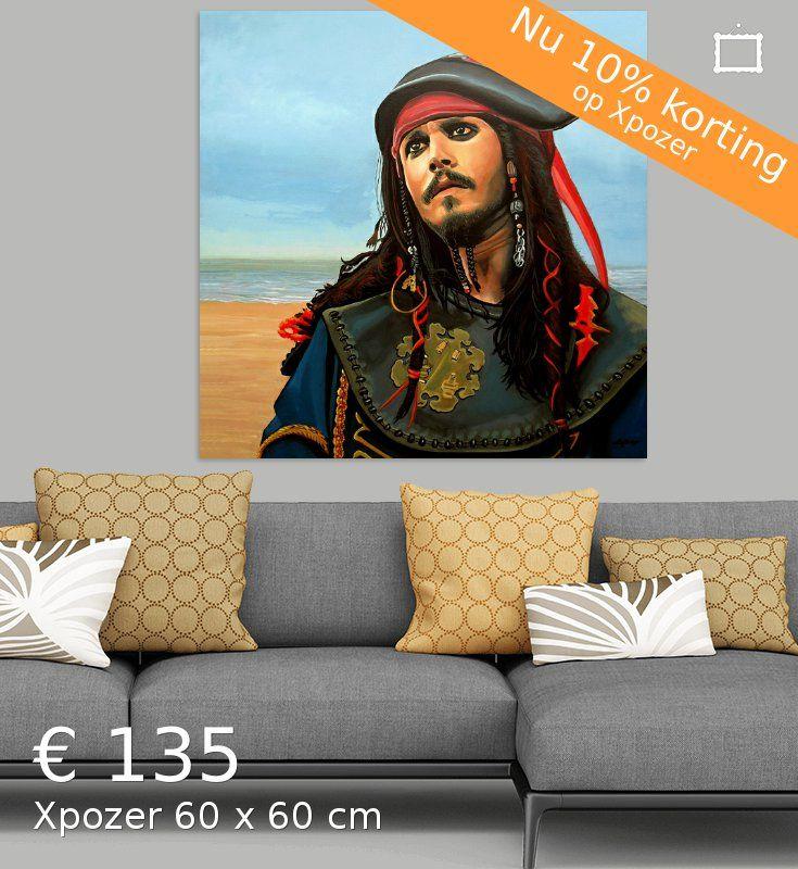 Nieuw in mijn Werk aan de Muur shop: Kapitein Jack Sparrow Schilderij