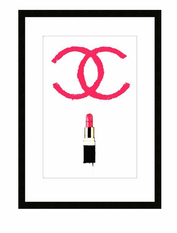 Coco Chanel Lipstick Art Print fashion by TheArtofAdamShaw on Etsy, £10.02