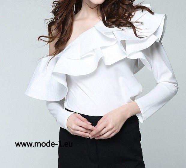Damen Langarm Bluse in Weiss mit Rüschen