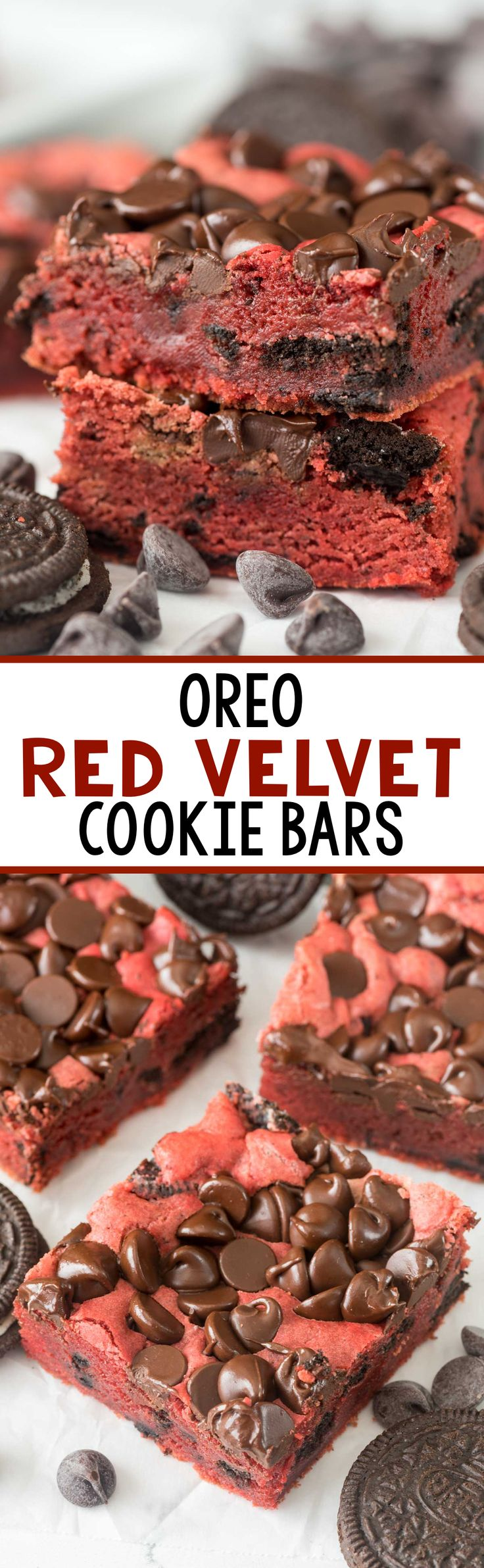 Oreo Red Velvet Cookie Bars - this easy blondie recipe is full of red velvet flavor AND Oreos and chocolate!