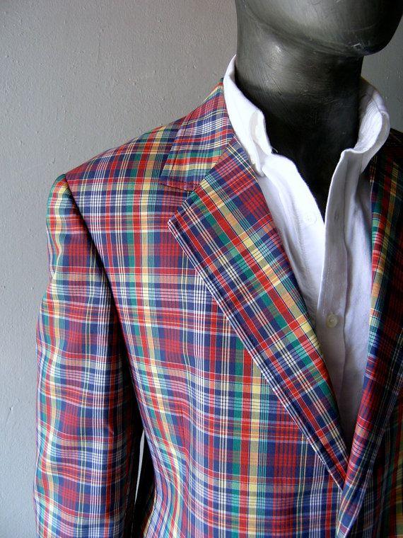 Mens Plaid Cotton Blazer 44r Classic Palm Beach Plaid