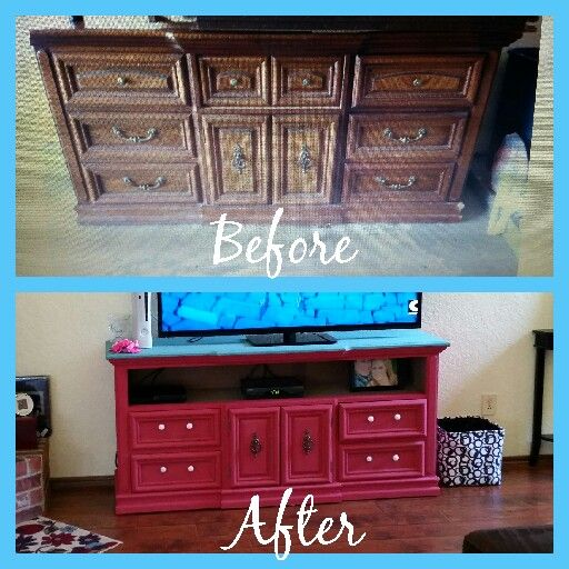 My before and after dresser refurbished into a tv stand.