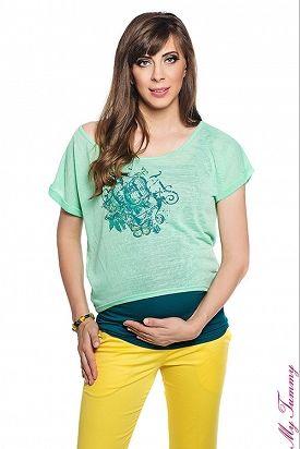 Conjunto Top+camiseta verdes para mamás modernas.