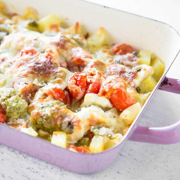 Feierabendküche! Kartoffel-Hähnchen-Auflauf à la Caprese