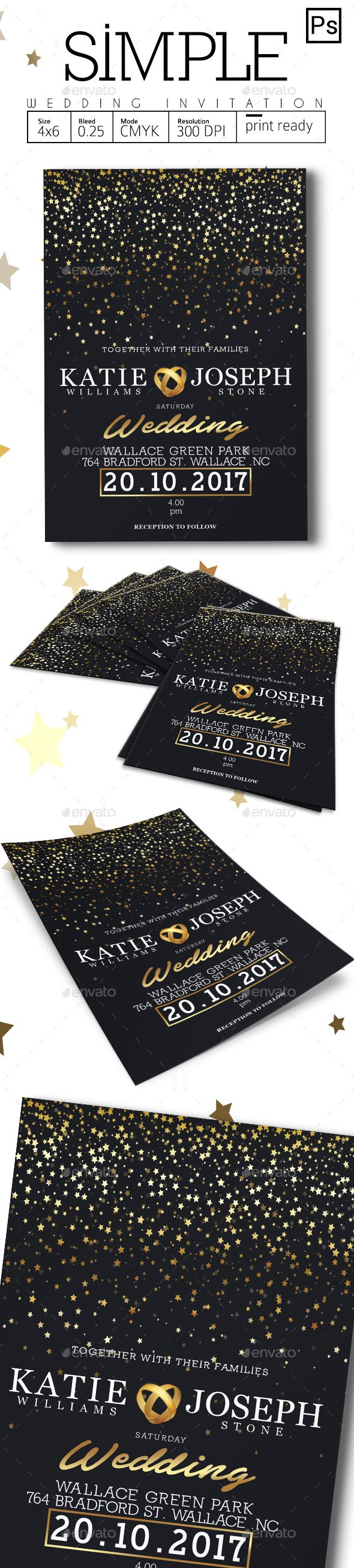 Simple Wedding Invitation — Photoshop PSD #tosca #date • Available here → https://graphicriver.net/item/simple-wedding-invitation/18788904?ref=pxcr