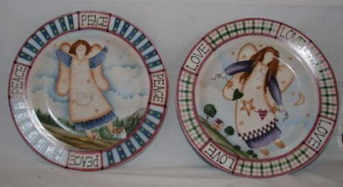 Angel-Ceramic-Decorative-Plates-2-pcs-with-Peace-and-Love-Message