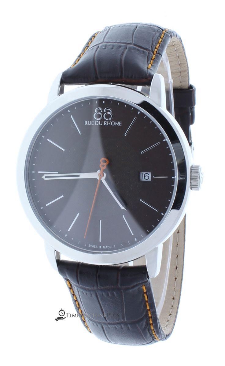 88 RUE DU RHONE 87WA140022 Men's Brown Swiss Made Watch Orange Accents