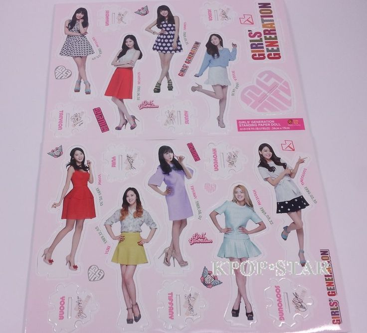 SNSD Girls Generation Standing Paper Doll Korean K Pop Star KPOP Paper Doll