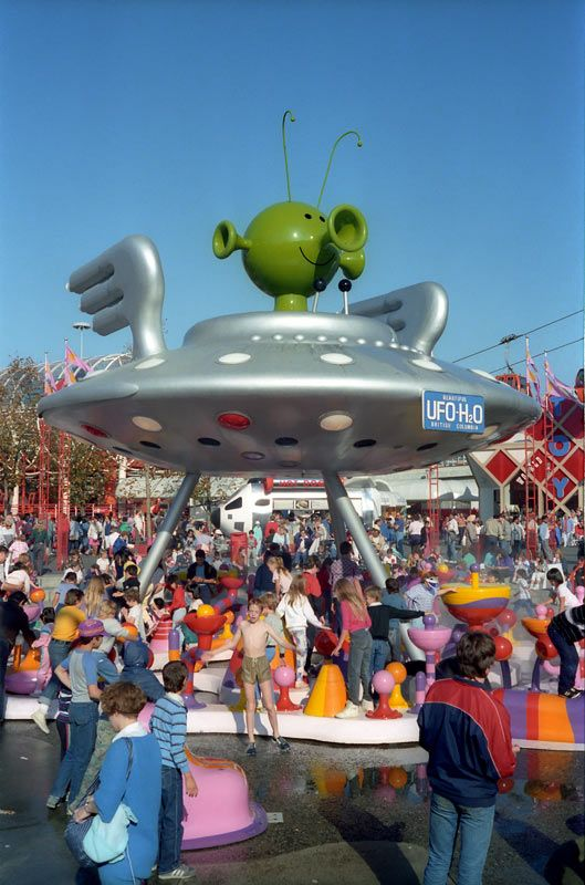 UFO-H2O at Expo 86 World's Fair, Vancouver British Columbia, Canada. A UFO inspired children's water playground. #Expo86 #WorldsFair #Vancouver #BritishColumbia #Canada