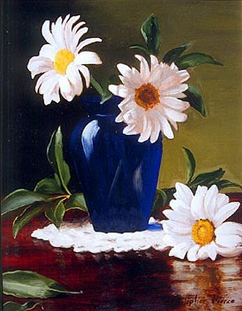 Christopher Pierce, Three White Dasies, 2013, oil on canvas, 8 X 10 inches