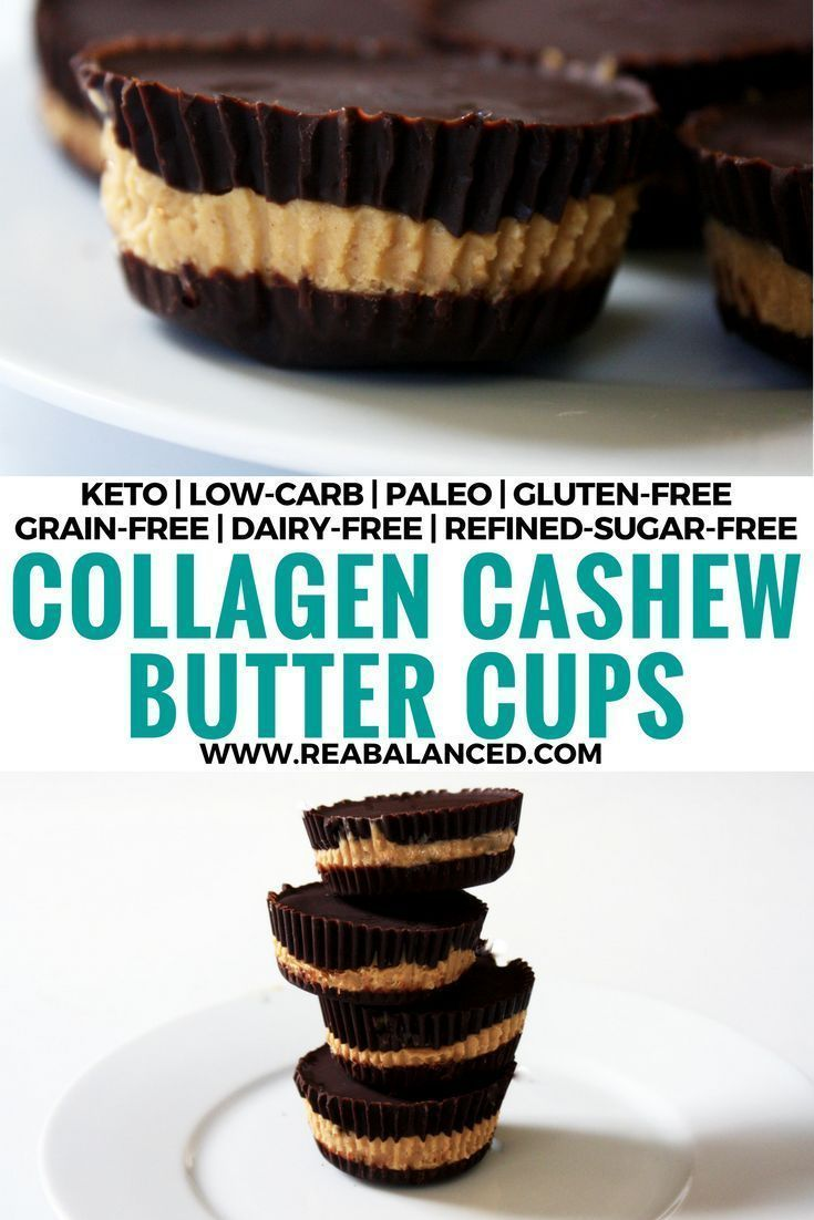 Collagen Cashew Butter Cups: keto, low-carb, paleo, gluten-free, grain-free, dairy-free, and refined-sugar-free!