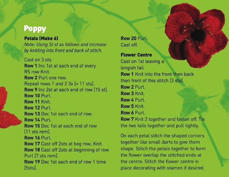 Knitting Pattern For Poppy Flowers : 13 best 5000 Poppies images on Pinterest Knit crochet, Crochet flower patte...
