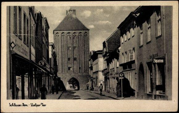 Schlawe Pommern, Passanten am Stolper Tor,