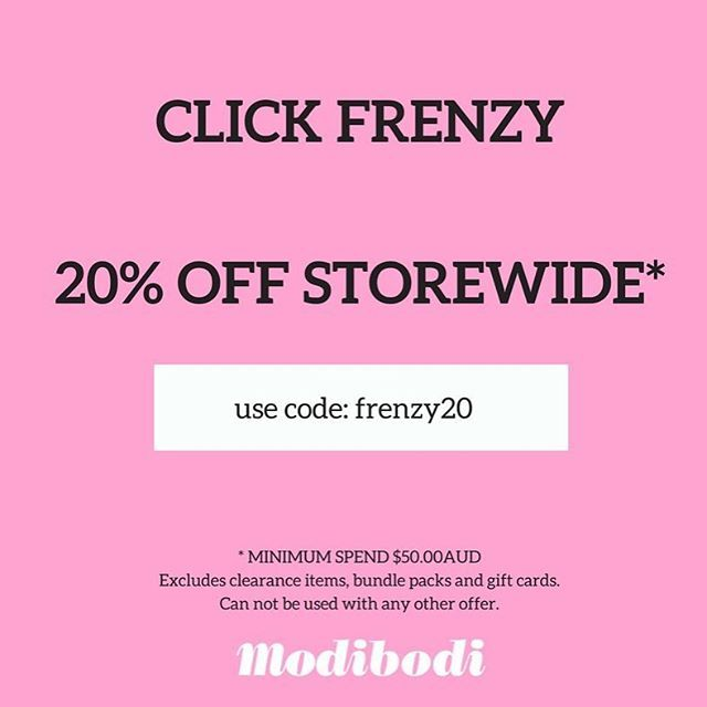 It's here...Our Flash Click Frenzy Sale starts now! 20% off storewide. Minimum spend $50.00AUD Offer ends Wednesday or while stocks last! Use checkout code: FRENZY20. Shop the sale in bio link #clickfrenzy #sale #shop #limitedstock #getinquick #flashsale ( Sorry, can't be used with any other promotional offer, discount or on bundle packs)flashsale,shop,limitedstock,clickfrenzy,sale,getinquickmodibodiaustralia