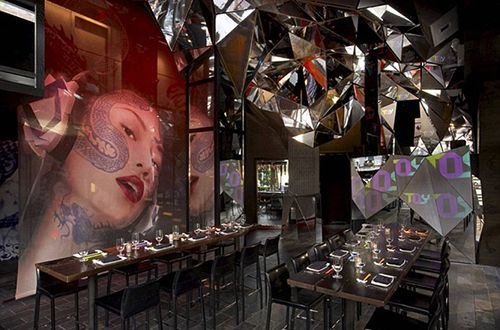TOY Restaurant in New York, the work of Jeffrey Beers, is reminiscent of Ridley Scott's classic film Blade Runner.
