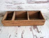 Antique Wooden Box, Handmade wooden Crate, Three compartment wooden Box, Antique Wood Crate, Distressed Old Primitive Storage
