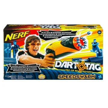 Give yourself a tactical advantage in the next Dart Tag battle with the incredible fully automatic Speedswarm blaster! The motorized rotating barrel gives you the ability to send a rapid-fire barrage of darts in any direction. £23 from Debenhams