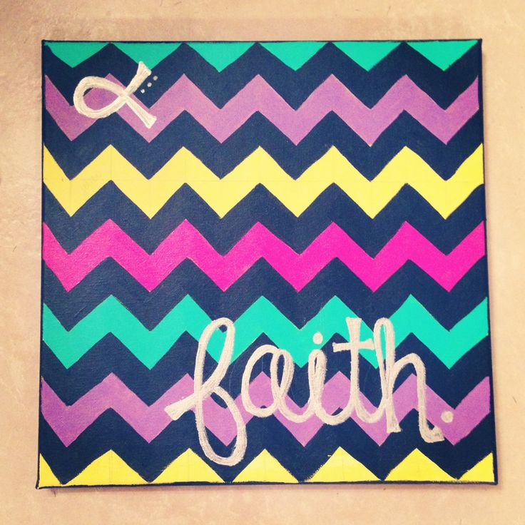 "@ Kim Olmos - This looks like a Kim Project!  Chevron ""Faith"" Canvas Painting"