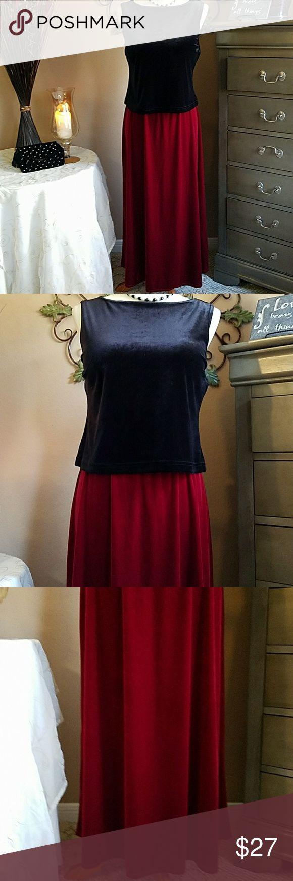 SUSAN GRAVER 💋Red Velvet Maxi Skirt 💋Rich Ruby Red Velvet Maxi💋 Pristine condition with gathered elastic slip on waist. Measures 36 Length💋Brand New Quality!! Susan Graver Skirts