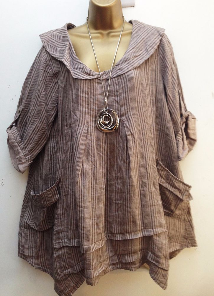 New Italian Lagenlook 100% Linen Beige Stripe Tunic Smock Top uk 12 14 16 18