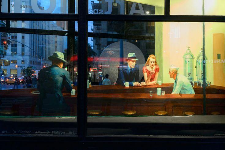 edward hopper's nighthawks recreated as 3D pop-up installationHopper Nighthawk, Art Work, The Artists, American Art, Whitney Museums, Design Art, New York, Edward Hopper, 3D Installations