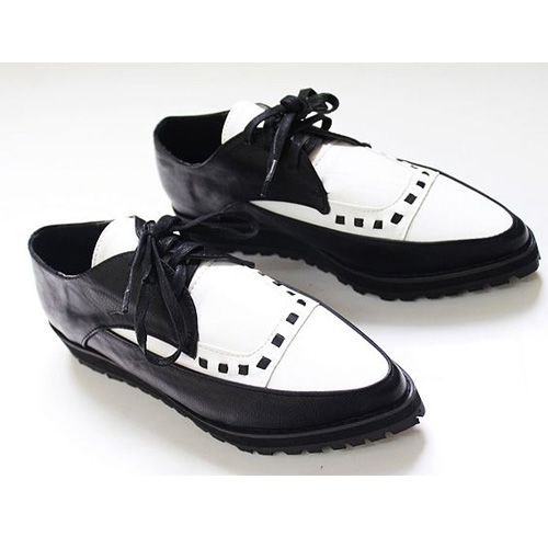 Vintage Black White Thick Sole Women Pointy Toe Lace Up  -2590