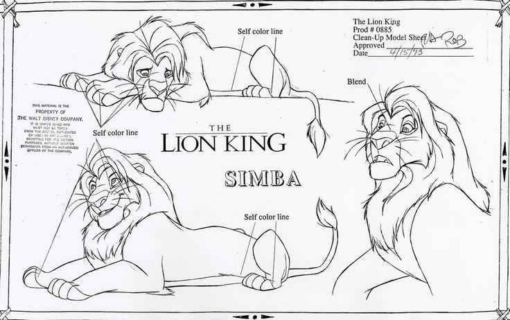 Walt Disney Animation Studios - The Lion King (1994) Clean-Up Model Sheets - Simba © Disney